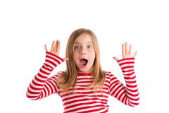 Blond indented kid open mounth hands happy - stock photo