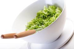 Studio shot of lettuce in bowl - stock photo