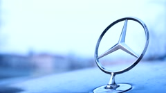 Sign Mercedes coarsely.Germany Stock Footage