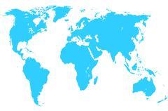 Blue world map, isolated Stock Illustration
