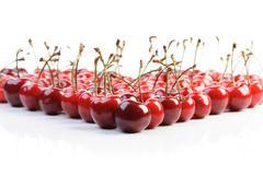 Cherries on white background  - studio shot - stock photo