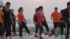 Aerobic at the Mekong,Vientiane,Laos - stock footage