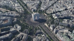 Arc de Triomphe Paris Aerial Stock Footage