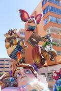 Fallas of Valencia in Denia popular fest figures Stock Photos