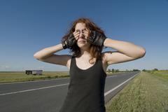 Teenage girl gesturing - stock photo