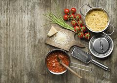 Spaghetti with bolognese sauce-just cooked Stock Photos