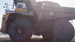 4K huge quarry trucks Stock Footage