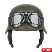 German Army helmet with protective goggles - stock illustration