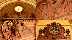 4K montage (compilation) - Historical building(interior) - clock - decorations Stock Footage