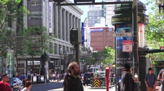 San Francisco News stand, crosswalk people Stock Footage