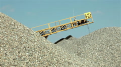 Sand falling from conveyor belt on the pile. Separation sand for construction. Stock Footage