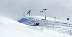 Snow Groomer Gondolas 4k Stock Footage