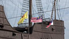 National flag, Ship at Malacca Maritime Museum, Malaysia Stock Footage