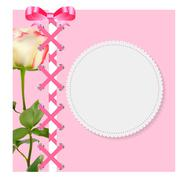 Vintage Frame with Bow, Ribbon and Rose Folwer  Background. Vect - stock illustration