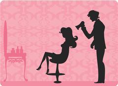 Vector illustration of the beautiful woman in hairdressing salon - stock illustration