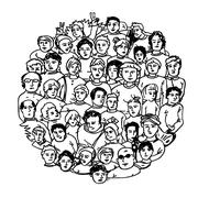 Hand Drawn People Characters Unrecognizable. Circle shaped - stock illustration