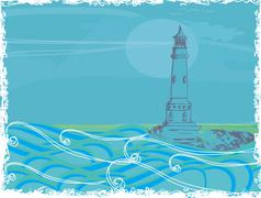 lighthouse seen from a tiny beach - Grunge Poster - stock illustration