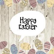 Easter eggs on wooden planks background - stock illustration