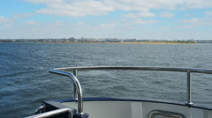 View of the river from the deck of the yacht - stock footage