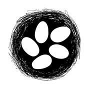 Easter eggs in nest - stock illustration
