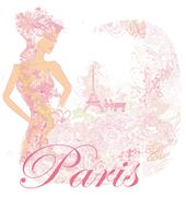 Beautiful fashion abstract floral women in Paris - vector card Stock Illustration