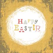 Grungy Vintage Yellow Easter Background Stock Illustration
