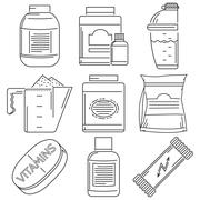 Sports nutrition flat line icons collection Stock Illustration