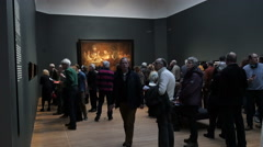 Stock Video Footage of Visitors at Rembrandt exhibition Rijksmuseum