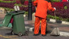 Asian street cleaner, brushes, Melaka, Malacca, Malaysia Stock Footage