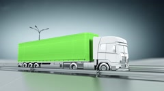 Green cargo truck on a highway. Side view. Looping animation background. - stock footage