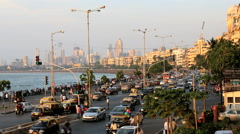 Mumbai Marine drive city skyline road transport India Stock Footage
