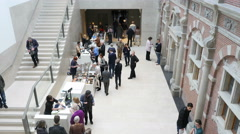 Museum hall with visitors Stock Footage