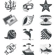 Black monochrome marine vector icons - stock illustration