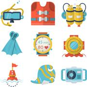 Flat color style diving vector icons - stock illustration
