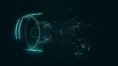 Aircraft engine futuristic colors 3d model hologram Stock Footage