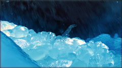 Crystal Icicle on a Mountain Creek in Sunlight, Close up Stock Footage