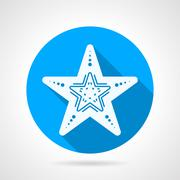 Flat round vector icon for starfish - stock illustration