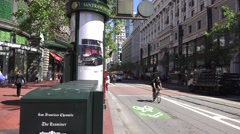 San Francisco Market St. News stand traffic Stock Footage