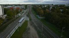 Empty railway split trees aerial panoramic - stock footage
