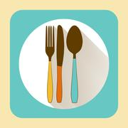 Kitchen ware tableware. flat icon with long shadow - stock illustration