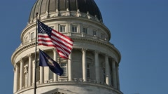 Utah Capital Building Flags Stock Footage