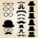 Stock Illustration of Retro gentleman's set consists of a hat, glasses and mustache