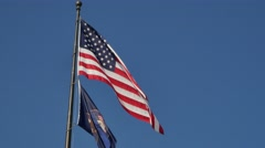 USA and Utah flags Stock Footage