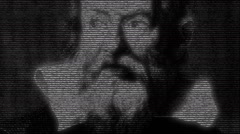 Animation of Galileo face with numbers running Stock Footage