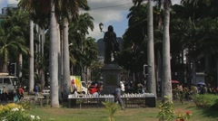 Statue of Mahe de La Bourdonnais in Port Louis, Mauritius. Stock Footage