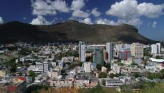 View to the Port Louis city buildings, Mauritius. - stock footage