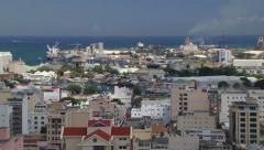 View to the Port Louis city buildings and sea port, Mauritius. - stock footage