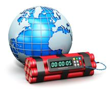 Earth globe and time bomb - stock illustration