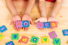 Puzzle letters yes and no Stock Photos