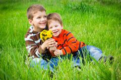 Two boys with dandelions - stock photo